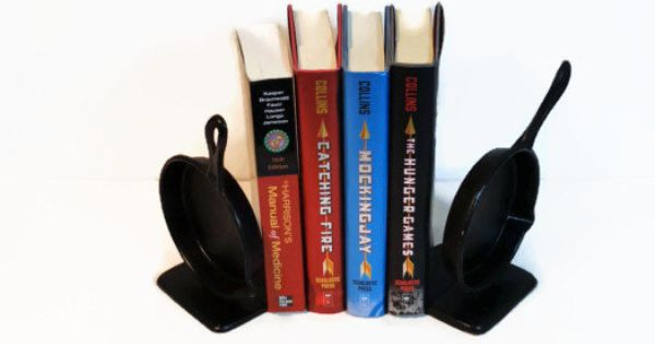 Cast iron skillet bookends antique howell evan by poppawsplace cast iron pinterest - Sturdy bookends ...