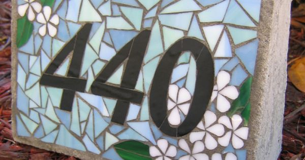 Plumeria stained glass mosaic and concrete house number for Glass block alternatives