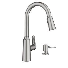 Moen Edwyn Spot Resist Stainless 1 Handle Deck Mount Pull Down Handle Lever Commercial Residential Kitchen Faucet Lowes Com Moen Kitchen Faucet Kitchen Faucet Brushed Nickel Kitchen Faucet