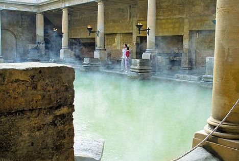 Mineral wealth: Bath's hot springs still supply the historic Roman bathing complex,