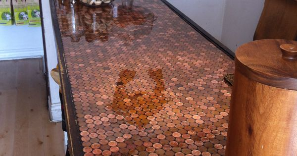 Penny countertop at the bone house kitchens pinterest for Copper penny bar top