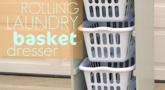 rolling laundry basket dresser- diy -- great idea!