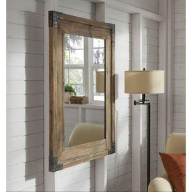 Allen Roth 40 55 In L X 30 31 In W Reclaimed Wood Beveled Wall Mirror Lowes Com Wood Framed Bathroom Mirrors Wood Wall Mirror Barn Wood Mirror
