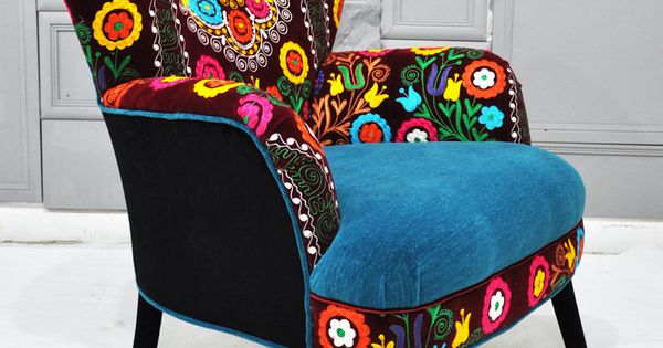 Patchwork Armchair With Suzani And Turquoise Velvet Fabrics Home Stuff Pinterest Armchairs