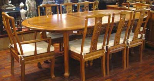 9 Piece Solid Teak Dining Table Set From Indonesia Indonesian Furniture Dining Table Setting Teak Dining Table