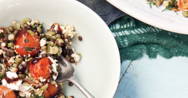 Puy lentil and split green pea salad with balsamic bacon, egg, and