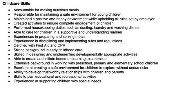 Child Care Skills Resume Child Care Skills Resume Child Care Resume