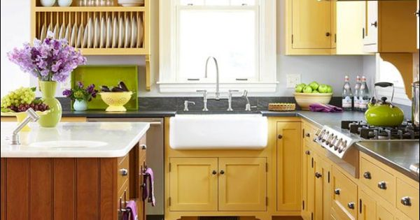 Yellow kitchen with green accents ideas for the home for Green yellow kitchen ideas
