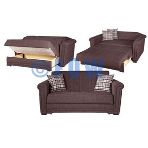Sun Loveseat Sofa Bed In Andre Dark Brown Turns Into Full Bed