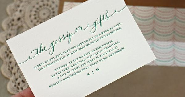 Cute wording for a registry card by bespoke press for Top things to register for wedding