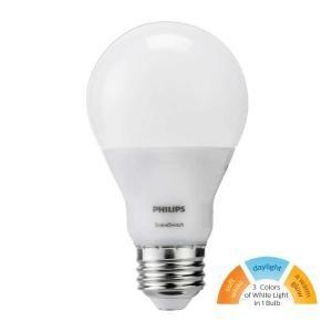 Philips 60 Watt Equivalent A19 Sceneswitch Led Light Bulb Daylight 5000k Soft White 2700k Warm Glow 2200k 464867 Light Bulb Bulb Led Light Bulb