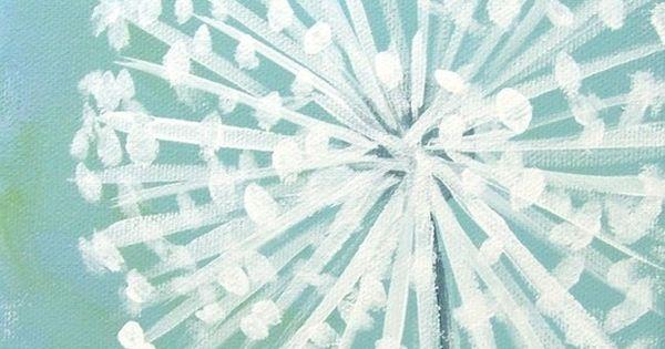 straight line & dot. dandelion easy painting artsy