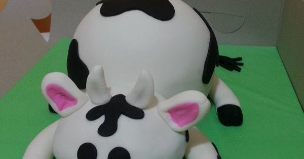 Cow Cake Made With The Wilton Sports Ball Pan Fondant