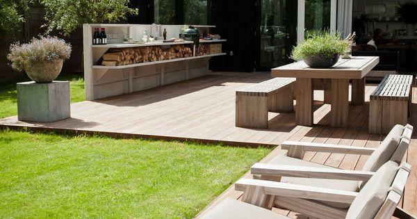 Prachtige 1 3 meter hoge licht grijze buitenkeuken van for Piscina jardin 727