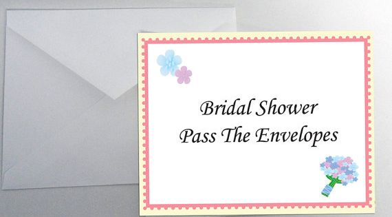 Bridal Shower Games Pass The Bouquet : Instant download pass the envelopes bridal shower game