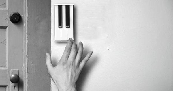 Doorbell that allows guests to perform a short piece of music on