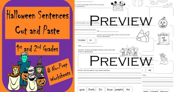 halloween sentences cut and paste eight pages of building sentences worksheets perfect for a. Black Bedroom Furniture Sets. Home Design Ideas