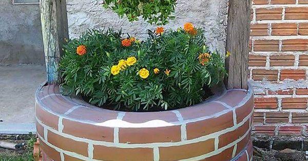 Pozo con llantas ideas creativas pinterest decoraci n for Decoracion de jardin con llantas