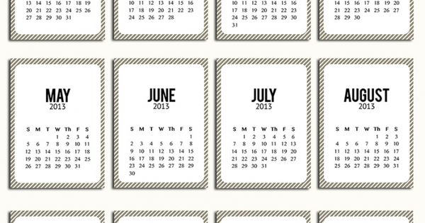 2013 free printable calendar pages for project life