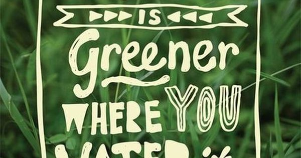 The grass is greener where you water it. - so true. I