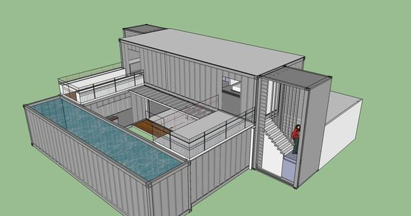 large preview of 3d model of shipping container dynamic home with courtyard shipping. Black Bedroom Furniture Sets. Home Design Ideas