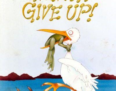 Frog choking bird never give up