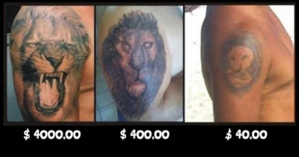 Lion tattoos and their prices lions tattoo and funny stuff for Price of small tattoo