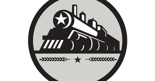 Golden Age Steam Powered Tours Logo Retro Illustration Steam Trains Star Illustration
