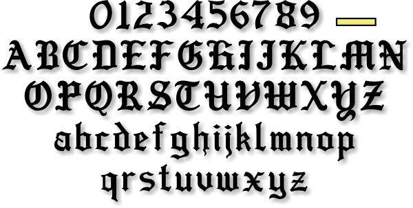 Calligraphy alphabet old english