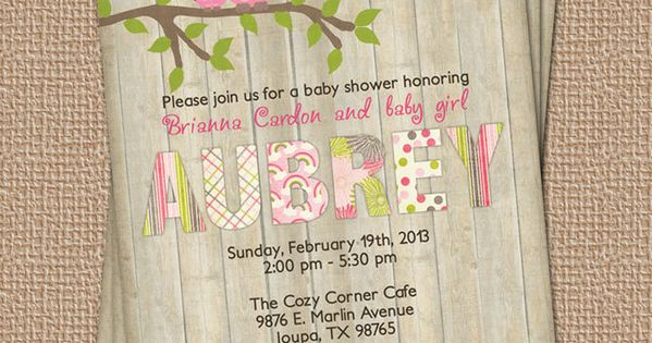 Owl baby shower invitation with wood background, digital, printable file (any colors).