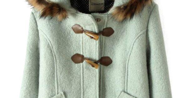 Light Green Fur Hooded Horn Button Pockets Coat - Sheinside.com