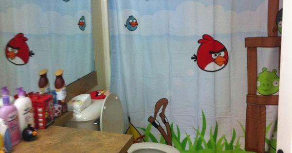 Angry birds bathroom decor mason 39 s new bathroom for for Angry birds wallpaper mural