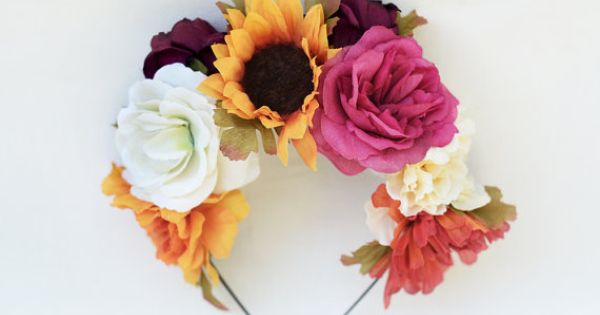 Di de los muertos flower crown frida kahlo by bloomdesignstudio a la mani re de frida kahlo - Deguisement frida kahlo ...