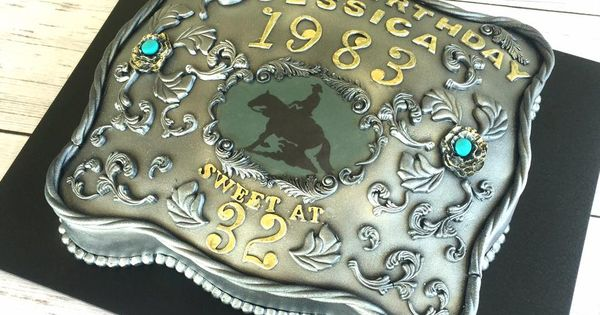 Cake Art By Jen : Silver Belt Buckle Cake with Turquoise and Horse , Rodeo ...