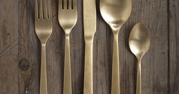 Flatware dwellstudio 5 piece oro gold cutlery home pinterest - Almoco flatware ...