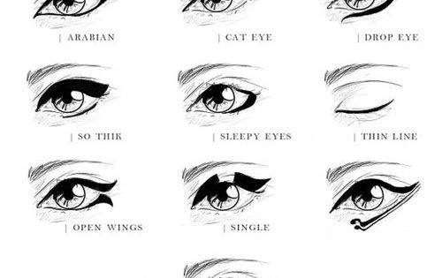 Eyeliner Styles... Arabian, Cat Eye, Drop Eye, Thick, Sleepy Eye, Thin, Open