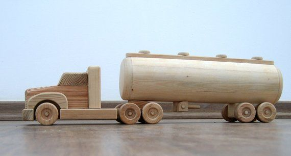 Wooden Truck Tripper with Trailer and load of blocks Kids toys car moveable
