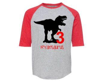 Boys birthday t shirt dinosaur party dinosaur birthday shirt personalized