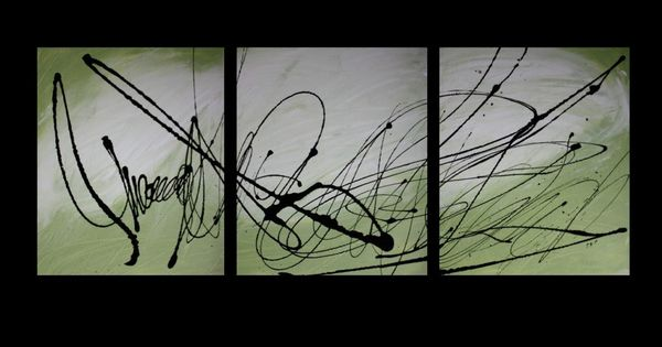 Abstract wall art painting - Abstract Art Canvas Painting Lime Green White Black Wall