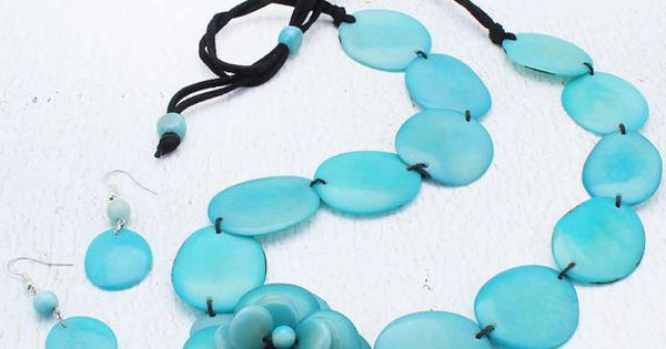 Blue Green Necklace Set Double Strand Necklace Cool Gifts for Women 1750 Blue Bead Necklace Eco Friendly Jewelry made of Tagua Nut