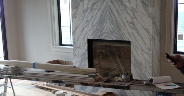 contemporary slab stone fireplace, calacutta carrara ...