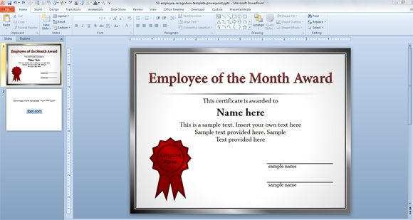 Free Employee Of The Month Template For Employee Recognition In Powerpoint Powerpoint Employee Recognition Certificate Templates Employee Awards Certificates