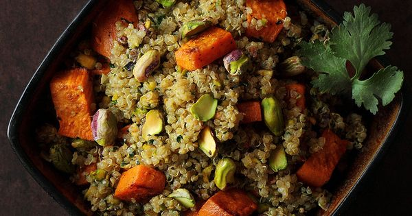 Favorite side dish EVER. Sweet Potato & Pistachio Quinoa Salad - three