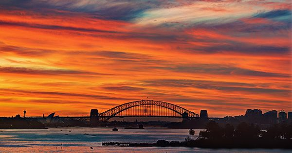 Beautiful Sydney harbour bridge at sunset