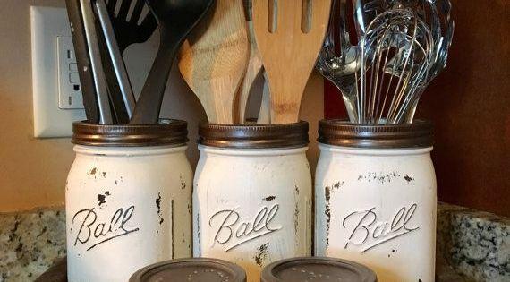 Utensil mason jar holder with salt and pepper by DandEcustom Kitchen Organization Pinterest