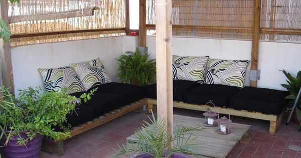 Terraza con sillones de palets my garden pinterest for Sillones de terraza