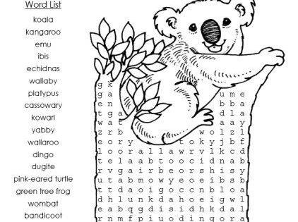 Australian Animal Word Search Puzzle Worksheet.