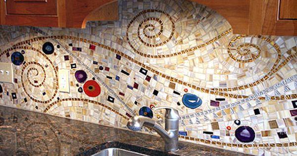 Mosaic Backsplash Made By Mixing And Matching Varying