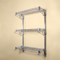 8 D 3 Shelf Chrome Wire Wall Mounted Shelf Kits Wall Mounted Wire Shelving Wire Wall Shelf Shelves