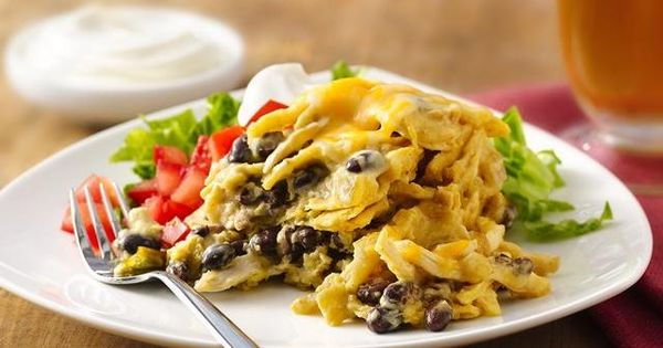 Slow Cooker Green Chile-Chicken Enchilada Casserole, using Old El Paso Green Enchilada